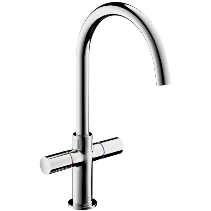hansgrohe axor uno2 2 handle basin mixer tap with high swivel spout without waste set item. Black Bedroom Furniture Sets. Home Design Ideas